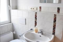 Das moderne Bad verfügt über einen Waschtisch, ein WC und eine Dusche, natürlich mit Tageslicht